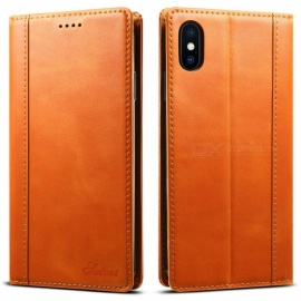 Genuine-Leather-Wallet-Case-with-Kickstand-Card-Slots-Magnetic-Closure-TPU-Shockproof-Case-for-IPHONE-XS-Max-Khaki