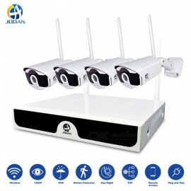 JOOAN 4CH 1080P Wireless NVR System with 4pcs 1080P HD Security Camera, P2P Home Security Camera System Wireless