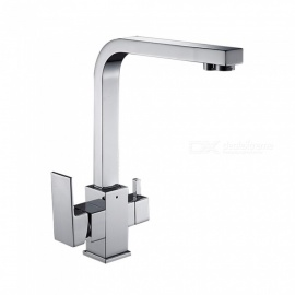 Brass Chrome 360 Degree Rotatable Ceramic Valve Two Handles One-Hole Kitchen Faucet with Water Purification Feature