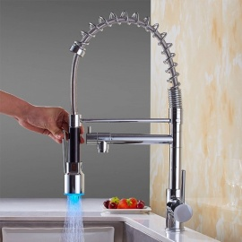 Brass Chrome LED RGB Pull-out/­Pull-down 360 Degree Rotatable One-Hole Kitchen Faucets with Ceramic Valve, Single Handle