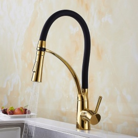 Brass Ti-PVD Pull-out/­Pull-down 360 Degree Rotatable Ceramic Valve Single Handle One-Hole Kitchen Faucets