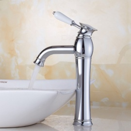 Brass Chrome Ceramic Valve One-Hole Single Handle Bathroom Sink Faucet