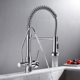 Brass Chrome with Water Purification Feature 360 Degree Rotatable Ceramic Valve Single Handle One-Hole Kitchen Faucet