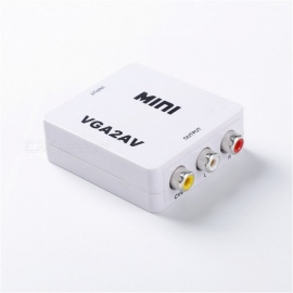 Direct Spot Mini VGA to AV HD Converter VGA to AV HD Adapter Mini White