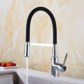 Brass Chrome RGB 360 Degree Rotatable Ceramic Valve Single Handle One-Hole Kitchen Faucet