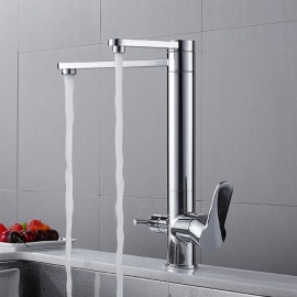 Brass Chrome 360 Degree Rotatable Ceramic Valve Two Handles One-Hole Kitchen Faucet with Water Purification Features