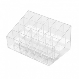 ZHAOYAO 24 Transparent Lipstick Storage Box, Plastic Desktop Lipstick Rack, Cosmetic Skin Care Product Storage Box