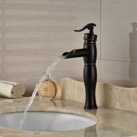 Brass Waterfall Deck Mounted Ceramic Valve One Hole Oil-rubbed Bronze, Bathroom Sink Faucet w/ Single Handle