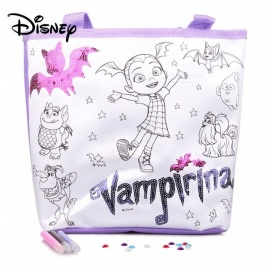 Disney DIY Vampirina Coloring Bag For Kids, Disney Character Color Your Own Tote Bag White