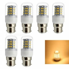 HONSCO 6PCS B22 6W 12V 24V LED Corn Bulb Warm White Light 3000K 48-SMD 2835 (6PCS)