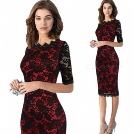 Autumn And America Lace Dress Solid Color Hollow Elastic Slim Pencil Dresses For Women Black/S