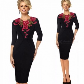 Europe And America Autumn Dress Elegant Vintage Appliques Slim Pencil Dresses For Women Black/S