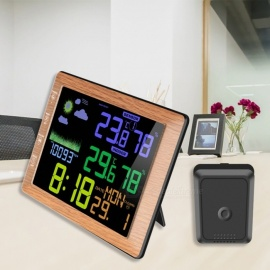 TS-8210 17 *12cm Multi Function Voice Control Digital Clock With Dual Temperature And Humidity Detect Black