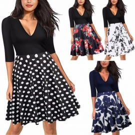 Europe And America Summer Dress V-Neck Floral Print Patchwork Dresses For Women AM078 Assorted/S