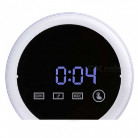 Round Household LED Digital Clock With Temperature Detect, Multi Function Luminous Digital Alarm Clock White