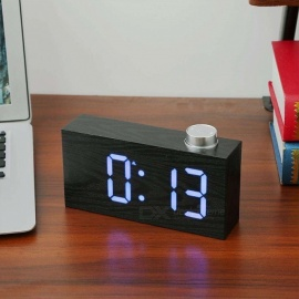 Wood Grain LED Digital Alarm Clock With Temperature Detect, Household Digital Clock White