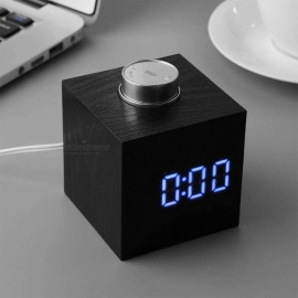 Fashionable Square Wood Grain LED Digital Alarm Clock With Temperature Detect White