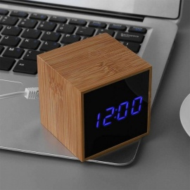 Multi Function Bamboo-framed LED Digital Alarm Clock With Temperature Detect White