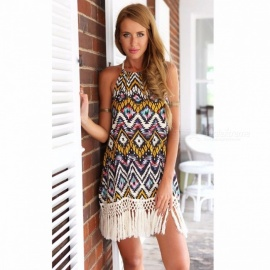 Europe And America Summer Bohemian Dress Sleeveless Rhombus National Print Halter Tassel Dresses For Women Multi/S