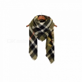 Autumn Winter Pashmina Scarf Dual Purpose Thickening Plaid Print Patchwork Shawl For Women Army Green/One Size