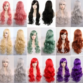 80cm Long Wavy Wigs For Women, Long Curly Synthetic Cosplay Wigs Green