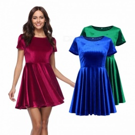 Europe And America Summer Dress O-Neck Pleuche Short Sleeve Solid Color Mini Dresses For Women Navy Blue/S