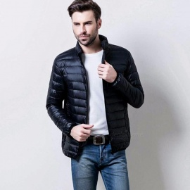 Winter New Men\'s Ultra-Thin Models Down Jacket Men Short Paragraph Coat Collar Section Black/M