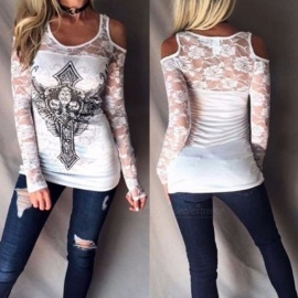 Europe And America Long Sleeve T Shirt Lace Angel Sword Print Off Shoulder Shirts For Women White/M