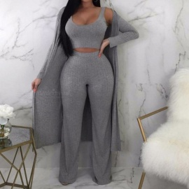 Autumn Winter New Women Set Solid Color Sleeveless Vest Elastic Waist Trousers With Long Sleeve Jacket Set Gray/S