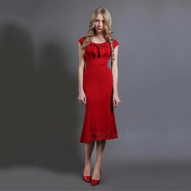 Europe And America Summer Dress O-Neck Bow Solid Color Office Lady Straight Slim Dresses For Women Red/S