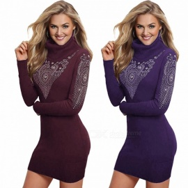 Womens High Collar Long Sleeve Slim Fit Dress, Casual Full Sleeve Pencil Dress With Jewel Details Purple/S/170