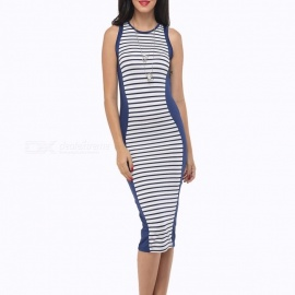 Europe And America Summer Dress Striped Sleeveless Sexy Slim Hit Color Tank Dresses For Women Multi/S