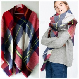 New Autumn Winter Warm Pashmina Scarf Dual Purpose Thickening Plaid Print Patchwork Shawl For Women Men Red/One Size