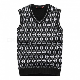 Premium Mens Slim Fit Check Wool Vest, V-neck Diamond Knit Shawl For Men Black/46