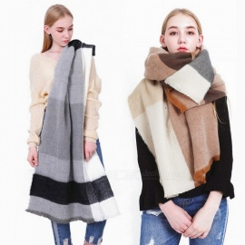 Autumn Winter Pashmina Scarf Dual Purpose Thickening Plaid Print Patchwork Shawl For Women Gray/One Size