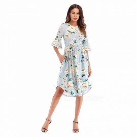 Summer Dress Vintage Floral Print Loose Large Size O-Neck Dresses For Women Multi/S