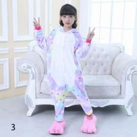 Childrens Animal Flannel Pajamas Costume, Cartoon Unicorn Onesies Costume For Kid Light Blue/3T