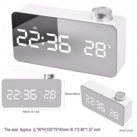 15.5*4.1*8.7cm Digital LED Mirror Alarm Clock With Snooze And Temperature Function, Luminous Bedside Alarm Clock White