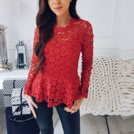 Europe And America Lace Top Solid Color Long Sleeve Casual Office Lady T Shirts For Women Black/S