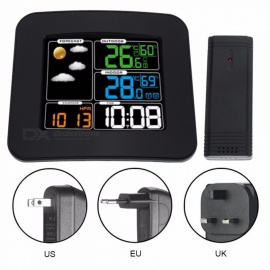 TS-75 14.5 * 13 * 2.5cm Multi Function Household Digital Clock With Dual Temperature And Humidity Detect Black