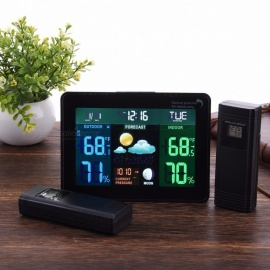 TS-71 Mutilfunctional Digital LED Clock With Indoor And Outdoor Temperature And Humidity Detect Black