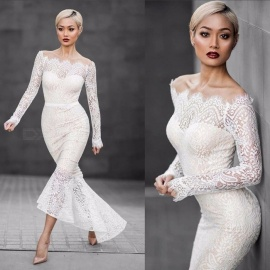 Europe And America Dress Slash Neck Long Sleeve Lace Sexy Mermaid Dresses For Women White/S/170