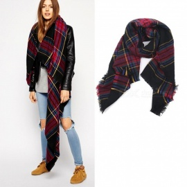 Autumn Winter Pashmina Scarf Dual Purpose Thickening Plaid Print Patchwork Shawl For Adult Burgundy/One Size