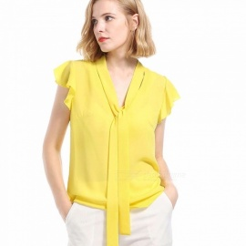 Europe And America Chiffon Shirts V-Neck Short Sleeve Solid Color Ruffles Blouses For Women Yellow/S