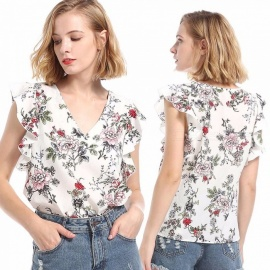 Europe And America Blouses Floral Print Short Butterfly Sleeve Slim Shirts For Women White/S
