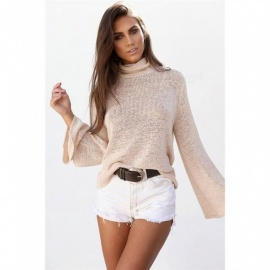 Europe And America Long Sleeve T Shirt Long Batwing Sleeve Knitted Bow Neck Backless Lace Up Shirts For Women Khaki/S