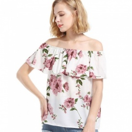 SJ0104 Womens Short Sleeve Print Chiffon Blouse, Casual Floral Print Off-the-should Top For Women White/S