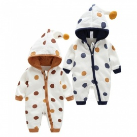 Autumn Newborn Infant Baby Long Sleeve Cotton Hooded Rompers Zipper Polka Dot Jumpsuit Clothes Dark Blue/6M