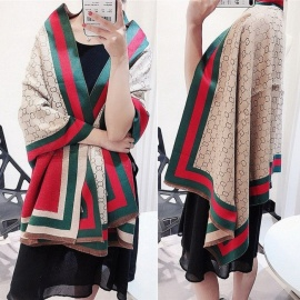 Autumn Winter Pashmina Scarf Dual Purpose Word Print Patchwork Thickening Warm Shawl For Women Light Khaki