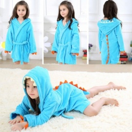 Childrens Cute Cartoon Hooded Bathrobe, Plush Soft Unisex Dinosaur Robe For Kids Blue/3T
